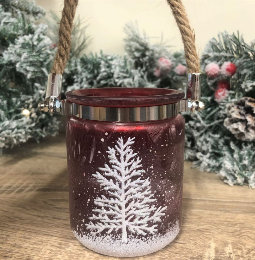 Red Christmas Rope Candle Holder with Tree Design